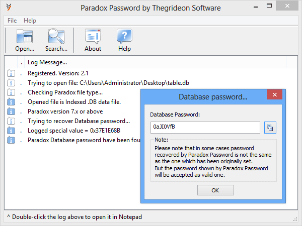 Paradox Password is Paradox database password recovery tool.