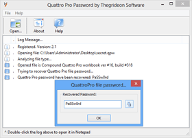 Quattro Pro Password Recovery Dialog
