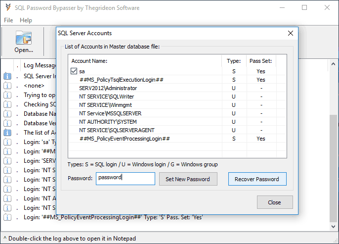 Click to view SQL Password Bypasser screenshots