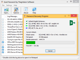Excel Password recovery dialog